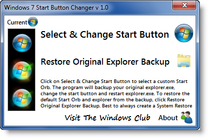 windows-7-start-button-changer Come cambiare il tasto Start in Windows 7 con uno personalizzato Freeware Personalizzazione